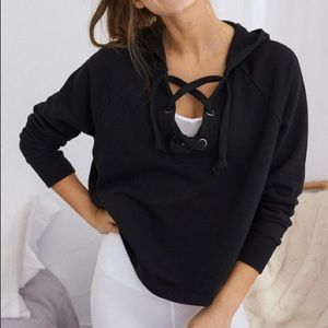 aerie | Black Lace-Up Cropped Hoodie